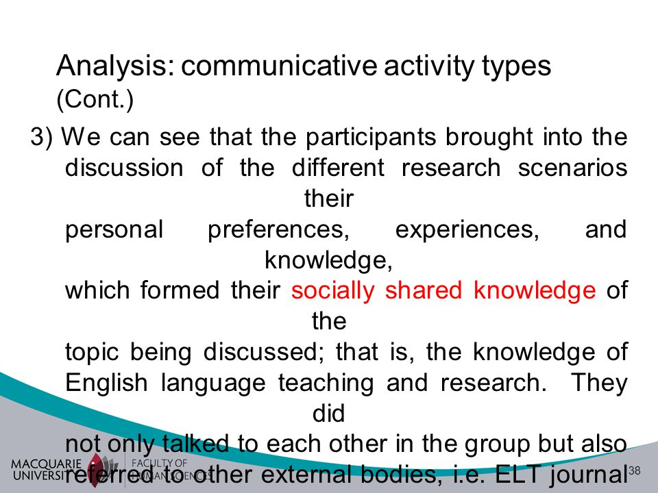 39 Analysis: content (what is said?) Participants' opinions about scenario 1a Quantitative Not Teacher Research research Research K1 K3 K4 K2 Qualitative 1a 1a: A teacher noticed that an activity she used in class did not work well.