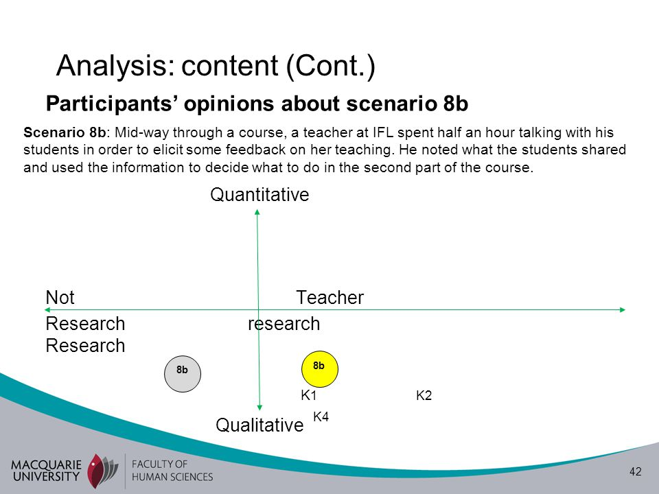 43 Analysis: content (Cont.) Participants' opinions about the research scenarios Borg's (2010) definition of TR