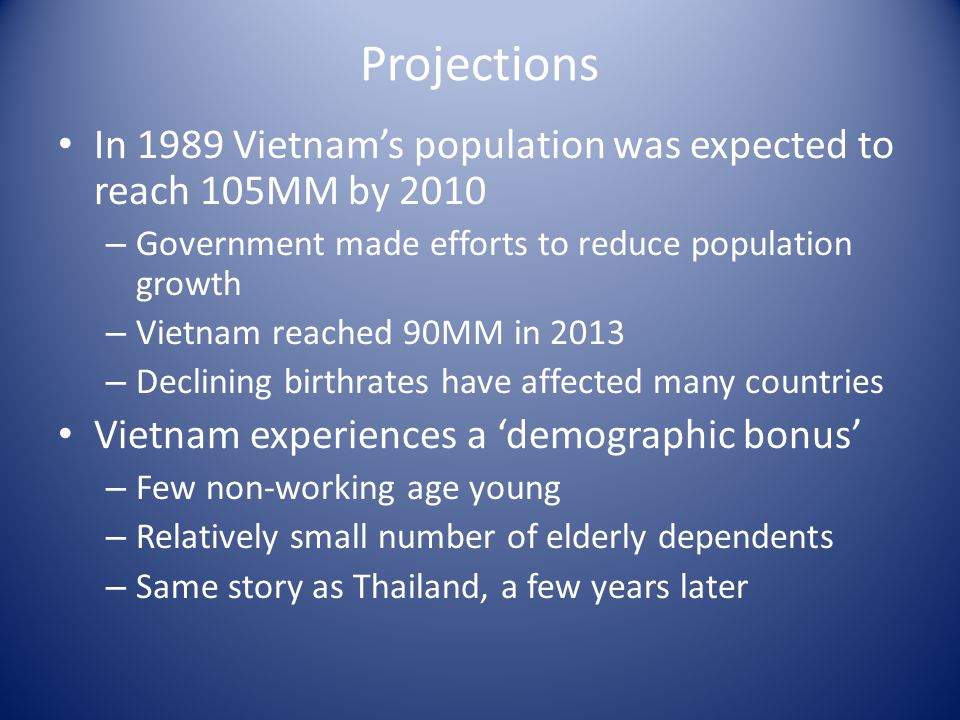 Effect of declining birth-rates in the 1990s Vietnam 1990 – 67MM 2015 – 92MM (added 25MM) Thailand 1990 – 57MM 2015 – 71MM (added 14MM) http://www.indexmundi.com/vietnam/age_structure.html