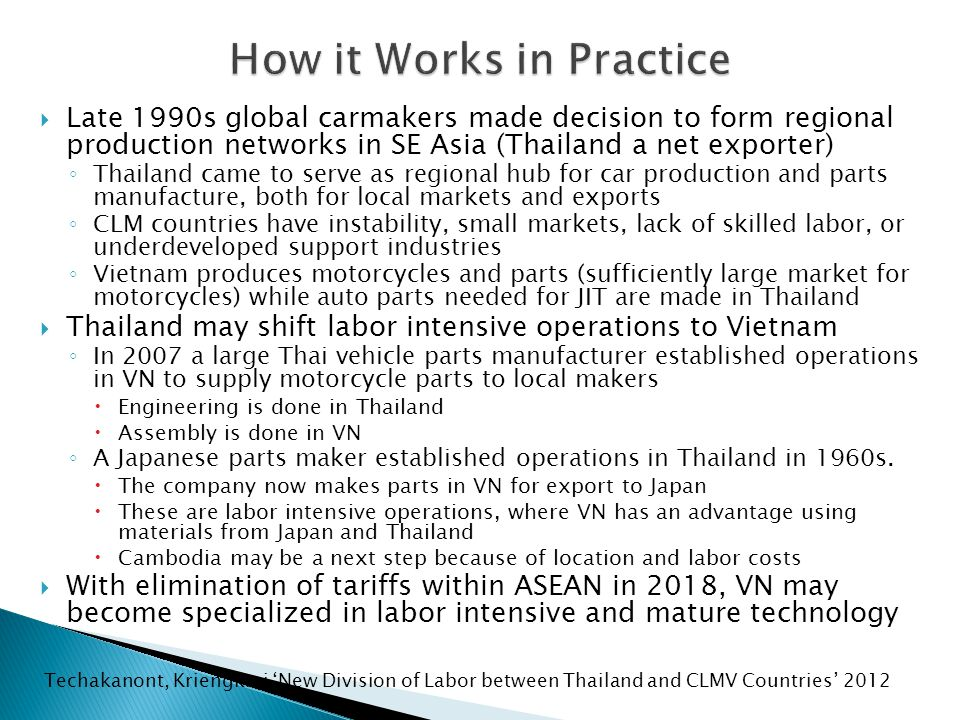  Thailand's Thai Beverage in a joint venture with UMEHL (Union of Myanmar Economic Holdings Limited) ◦ Myanmar Brewery Ltd – largest taxpayer in Myanmar ◦ Dispute with JV partner over control ◦ Heavy international attention to the arbitration  PTT – largest market cap on SET ◦ Invests $3BB in power and resources projects- views Myanmar as growth center (July 2012)  In addition to a refinery near Rangoon, PTT has been looking at investing in petrochemical and refining possibilities at Dawei on Burma's southeast coast as part of a proposed special economic zone  PTT considers developing a chain of roadside vehicle fuel stations across the country ◦ Now rumored to consider $30BB refinery project in VN  Vietnam suffers from similar problems to Burma: plenty of crude oil and natural gas resources but inadequate oil refining and petrochemical production.