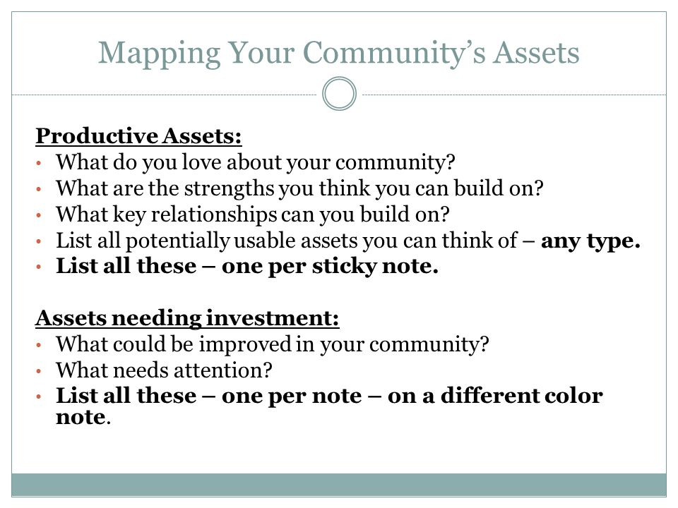 Turning Assets into Community Wealth When we invest in assets to create multiple forms of wealth that stay local – we're creating community wealth.