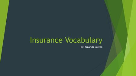 Insurance Vocabulary By: Amanda Cowell. Claim Definition: An assertion of the truth of something, typically on that is disputed or in doubt.