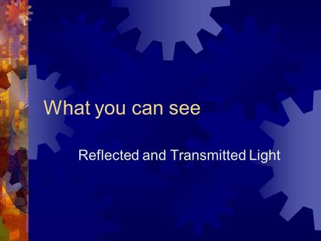 What you can see Reflected and Transmitted Light.