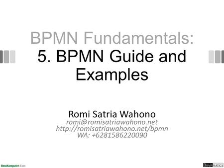 BPMN Fundamentals: 5. BPMN Guide and Examples