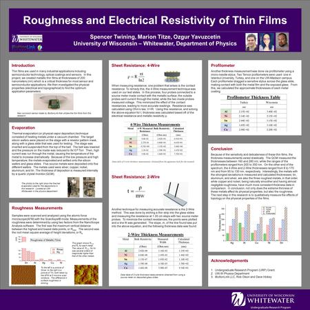 Roughness and Electrical Resistivity of Thin Films Spencer Twining, Marion Titze, Ozgur Yavuzcetin University of Wisconsin – Whitewater, Department of.