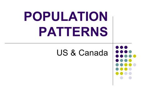POPULATION PATTERNS US & Canada. Bellringer Have your 6.1 notes out to check Get out a scratch sheet of paper & answer these q's (without using your notes)