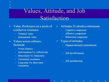 values attitudes and job satisfaction ppt Attitudes, values & job satisfaction - ibsgsection ppt presentation summary : beliefs that influence behaviour reference groups and culture influence employees.