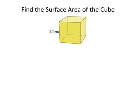 Find the Surface Area of the Cube. 6 Square Faces x 6 = 73.5 cm 2 Surface Area = 73.5 cm 2.