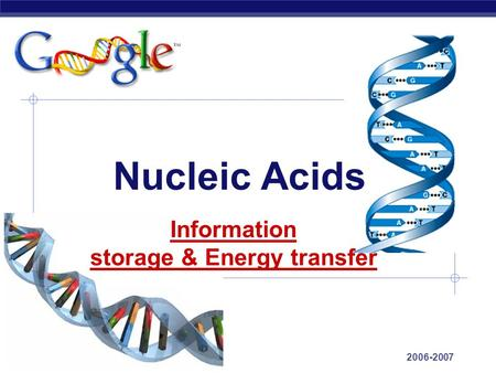 AP Biology 2006-2007 Nucleic Acids Information storage & Energy transfer.