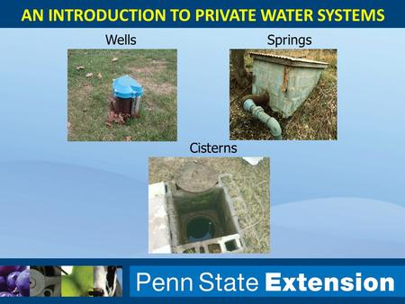 AN INTRODUCTION TO PRIVATE WATER SYSTEMS WellsSprings Cisterns.