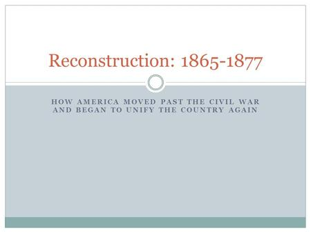 HOW AMERICA MOVED PAST THE CIVIL WAR AND BEGAN TO UNIFY THE COUNTRY AGAIN Reconstruction: 1865-1877.