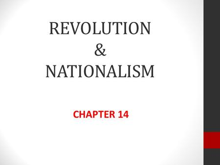 REVOLUTION & NATIONALISM