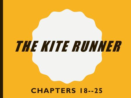THE KITE RUNNER CHAPTERS 18--25. CHAPTER 18 1.Amir is very upset when he hears the truth about Hassan. See the last two paragraphs on pages 237- 238.