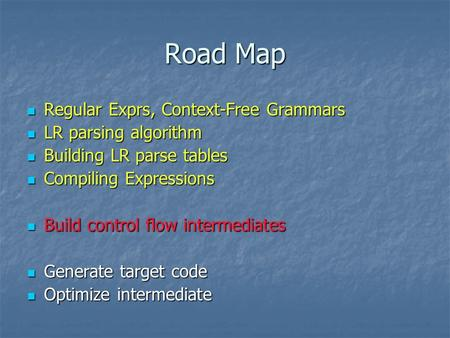 Road Map Regular Exprs, Context-Free Grammars Regular Exprs, Context-Free Grammars LR parsing algorithm LR parsing algorithm Building LR parse tables Building.