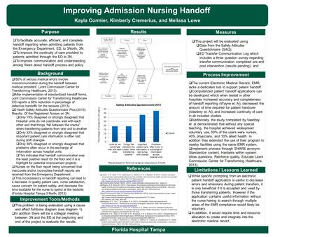 Purpose Improvement Tools/Methods Limitations / Lessons Learned Results Process Improvement Improving Admission Nursing Handoff Kayla Cormier, Kimberly.