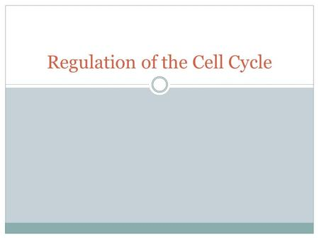 Regulation of the Cell Cycle How does a cell know when to divide and when not to divide?