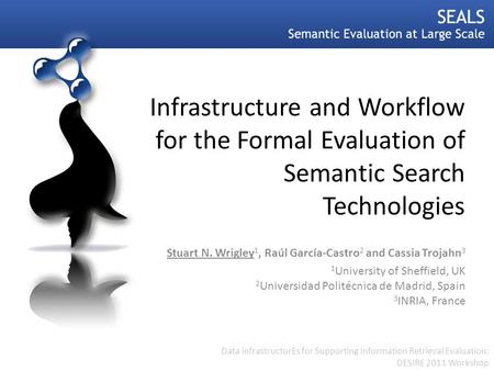 Infrastructure and Workflow for the Formal Evaluation of Semantic Search Technologies Stuart N. Wrigley 1, Raúl García-Castro 2 and Cassia Trojahn 3 1.