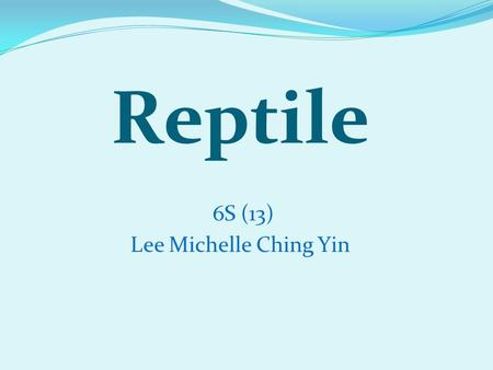 6S (13) Lee Michelle Ching Yin Reptile. We are reptiles ! Me too!