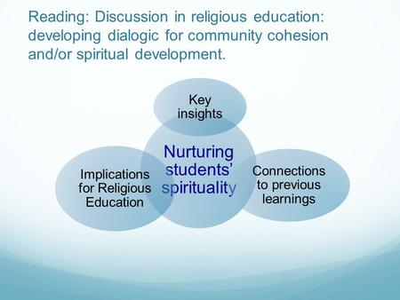 Reading: Discussion in religious education: developing dialogic for community cohesion and/or spiritual development. Nurturing students' spirituality Key.