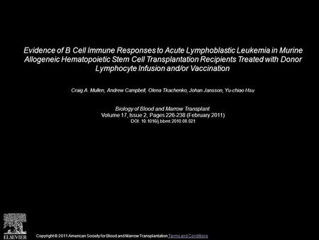 Evidence of B Cell Immune Responses to Acute Lymphoblastic Leukemia in Murine Allogeneic Hematopoietic Stem Cell Transplantation Recipients Treated with.