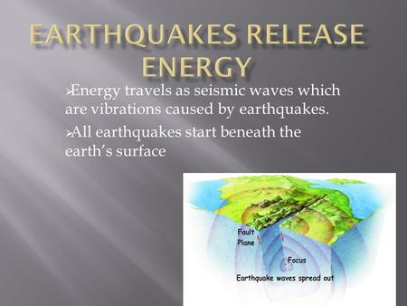  Energy travels as seismic waves which are vibrations caused by earthquakes.  All earthquakes start beneath the earth's surface.