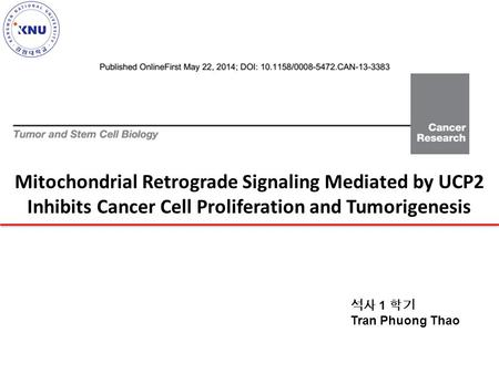 Mitochondrial Retrograde Signaling Mediated by UCP2 Inhibits Cancer Cell Proliferation and Tumorigenesis 석사 1 학기 Tran Phuong Thao.