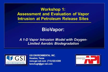 GSI ENVIRONMENTAL INC. Houston, Texas  (713) 522-6300 Workshop 1: Assessment and Evaluation of Vapor Intrusion at Petroleum.