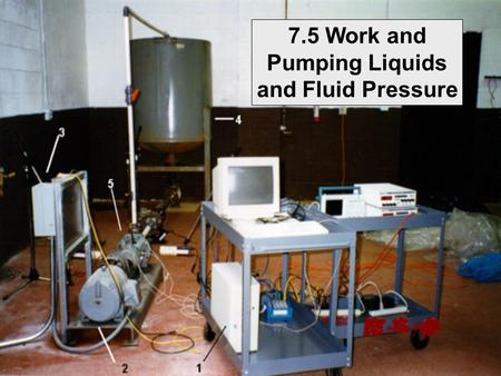 7.5 Work and Pumping Liquids and Fluid Pressure. Review: Hooke's Law: A spring has a natural length of 1 m. A force of 24 N stretches the spring to 1.8.