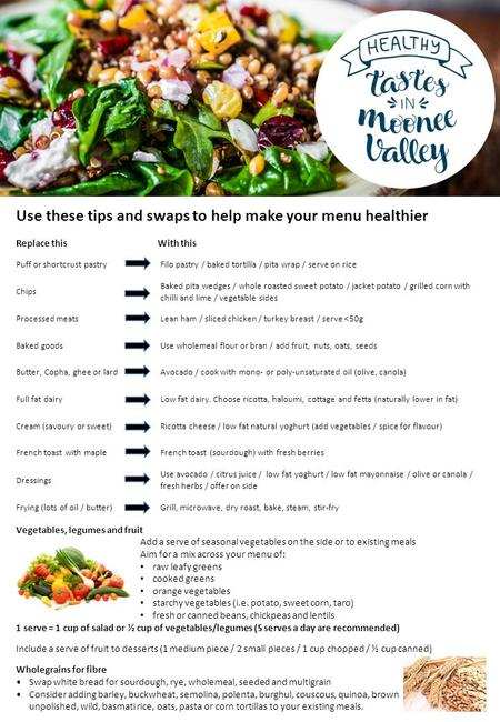 Use these tips and swaps to help make your menu healthier Replace this With this Puff or shortcrust pastry Filo pastry / baked tortilla / pita wrap / serve.