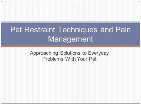Pet Restraint Techniques and Pain Management