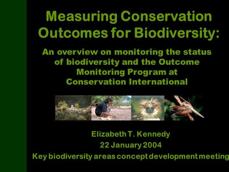 Measuring Conservation Outcomes for Biodiversity: Elizabeth T. Kennedy 22 January 2004 Key biodiversity areas concept development meeting An overview on.