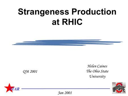 STAR Helen Caines The Ohio State University QM 2001 Jan 2001 Strangeness Production at RHIC.