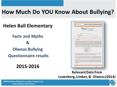 How Much Do YOU Know About Bullying? Helen Ball Elementary Facts and Myths & Olweus Bullying Questionnaire results 2015-2016 ©2014 Olweus Bullying Prevention.
