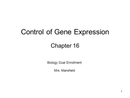 Control of Gene Expression Chapter 16 1 Biology Dual Enrollment Mrs. Mansfield.