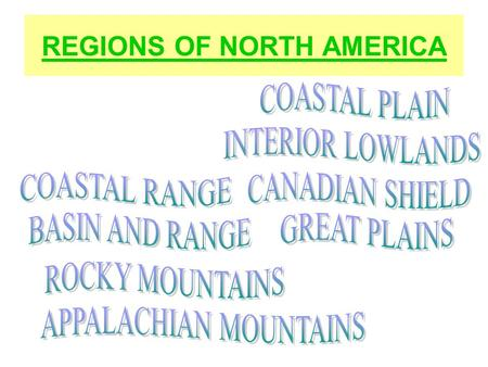 REGIONS OF NORTH AMERICA. COASTAL PLAIN Plain Atlantic Coastal Plain South East Coastal Plain Facts: 1.Located along the Atlantic Ocean and the Gulf of.