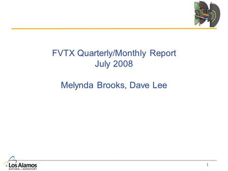 1 FVTX Quarterly/Monthly Report July 2008 Melynda Brooks, Dave Lee.