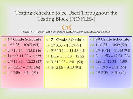  Testing Schedule to be Used Throughout the Testing Block (NO FLEX)  6 th Grade Schedule  1 st 8:35 – 10:09 (94)  2 nd 10:14 – 11:00 (46)  Lunch 11:00.