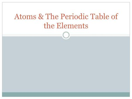 Atoms & The Periodic Table of the Elements. Atoms What are the three parts of the atom? What are the charges of the three different parts?