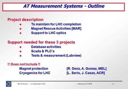 AB-CO Review, 23 September 2005 L. Walckiers AT-MTM p. 1 Project description  To maintain for LHC completion  Magnet Rescue Activities [MAR]  Support.