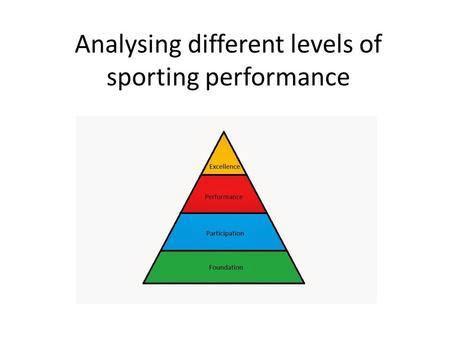 Analysing different levels of sporting performance.