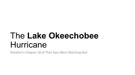 The Lake Okeechobee Hurricane Detailed in Chapter 18 of Their Eyes Were Watching God.