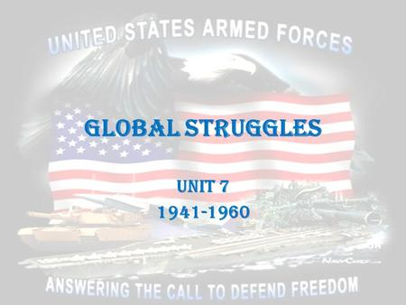 Global Struggles Unit 7 1941-1960. America and World War II Mobilizing for War Chapter 21 Section 1.