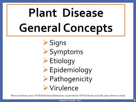 University of Florida - IFAS Plant Disease General Concepts  Signs  Symptoms  Etiology  Epidemiology  Pathogenicity  Virulence Photos used from various.
