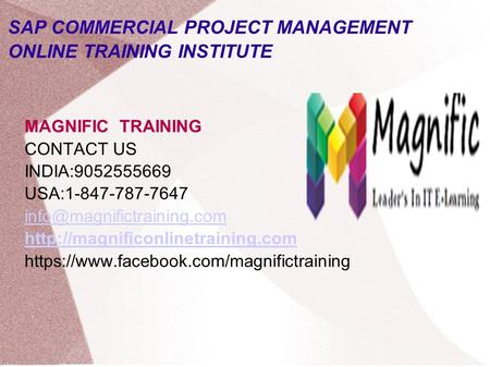 SAP COMMERCIAL PROJECT MANAGEMENT ONLINE TRAINING INSTITUTE MAGNIFIC TRAINING CONTACT US INDIA:9052555669 USA:1-847-787-7647