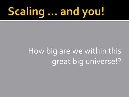 How big are we within this great big universe!?. Contains: The Sun (a star), 8 planets, dwarf planets, their moons, asteroids, meteoroids, comets, debris.