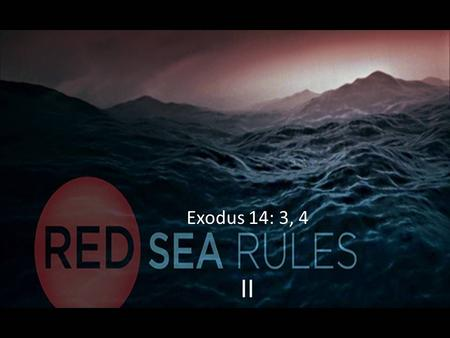 II Exodus 14: 3, 4. Red Sea Rule #2: Be more concerned for God's glory than for your relief.