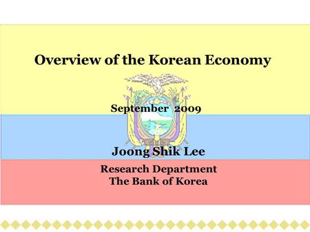 Overview of the Korean Economy September 2009 Joong Shik Lee Research Department The Bank of Korea.