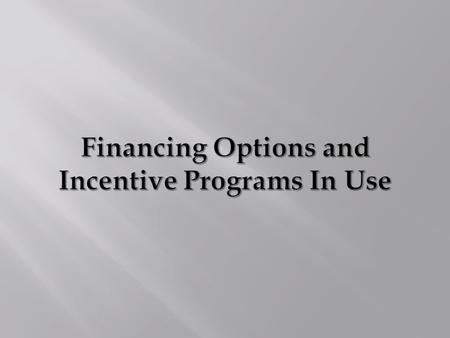 Financing Options I. Bond Issues 1. General Obligation 2. Leasehold Revenue 3. Certificates of Participation (COPs) II. State DNR SRF/Grant Program Revenue.