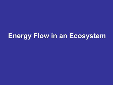 Energy Flow in an Ecosystem. Energy flows through an ecosystem as one organism eats another. The way in which energy flows can determine how many species.