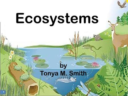 What Ecosystems by Tonya M. Smith. The community of organisms that live in a particular area along with their non-living surroundings All the abiotic.